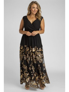 Antoinette Sequin Plus Size Gown in Gold